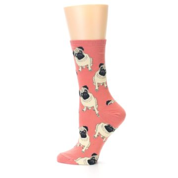 Image of Coral Pug Socks – Women's Novelty Socks (side-2-12)