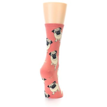 Image of Coral Pug Socks – Women's Novelty Socks (side-1-back-20)