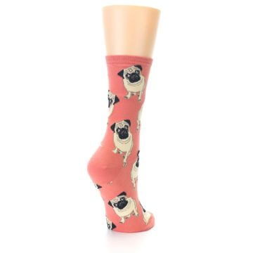 Image of Coral Pug Socks – Women's Novelty Socks (side-1-back-21)