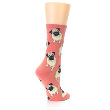 Image of Coral Pug Socks – Women's Novelty Socks (side-1-back-22)