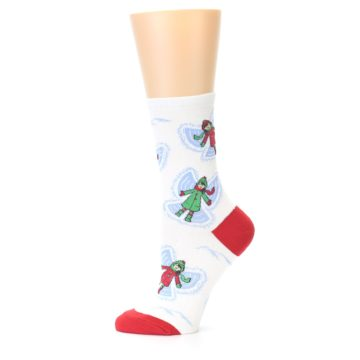 Image of White Snow Angels Women's Dress Socks (side-2-11)