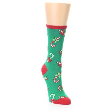Image of Green Christmas Candy Canes Women's Dress Socks (side-1-front-02)