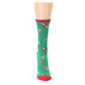 Image of Green Christmas Candy Canes Women's Dress Socks (front-04)