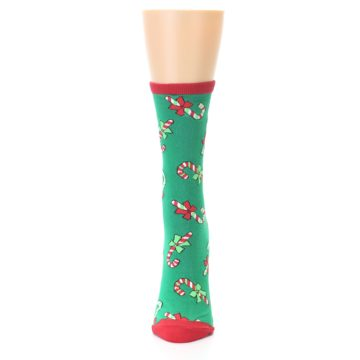 Image of Green Christmas Candy Canes Women's Dress Socks (front-05)