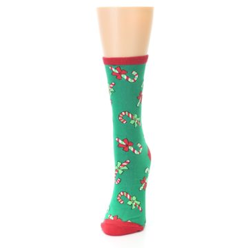 Image of Green Christmas Candy Canes Women's Dress Socks (side-2-front-06)