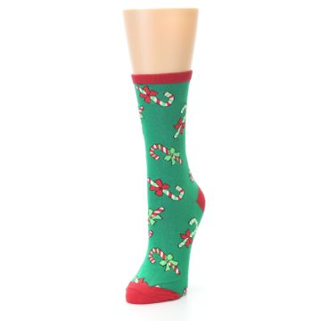 Image of Green Christmas Candy Canes Women's Dress Socks (side-2-front-07)