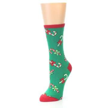 Image of Green Christmas Candy Canes Women's Dress Socks (side-2-front-08)