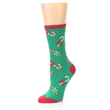 Image of Green Christmas Candy Canes Women's Dress Socks (side-2-09)