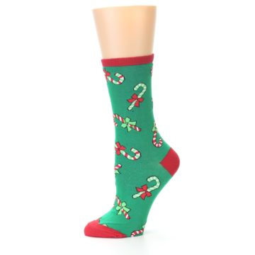 Image of Green Christmas Candy Canes Women's Dress Socks (side-2-10)