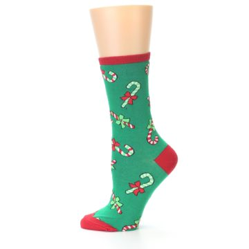 Image of Green Christmas Candy Canes Women's Dress Socks (side-2-11)