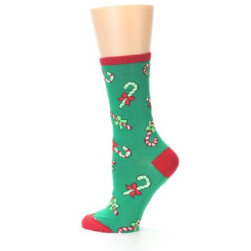 Image of Green Christmas Candy Canes Women's Dress Socks (side-2-12)