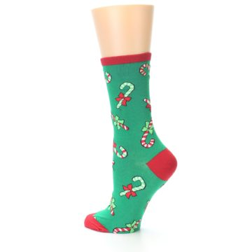 Image of Green Christmas Candy Canes Women's Dress Socks (side-2-13)