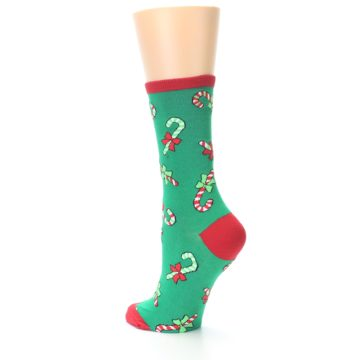 Image of Green Christmas Candy Canes Women's Dress Socks (side-2-back-14)