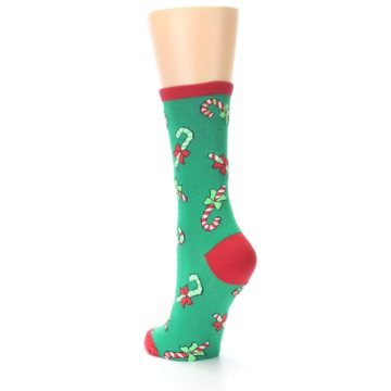 Image of Green Christmas Candy Canes Women's Dress Socks (side-2-back-15)