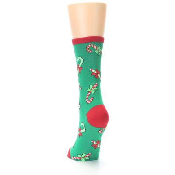 Image of Green Christmas Candy Canes Women's Dress Socks (side-2-back-16)