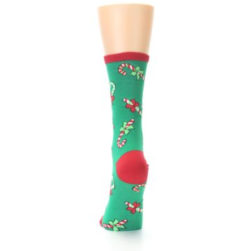 Image of Green Christmas Candy Canes Women's Dress Socks (back-17)