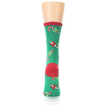 Image of Green Christmas Candy Canes Women's Dress Socks (back-18)