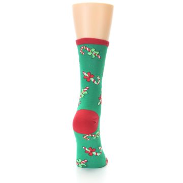 Image of Green Christmas Candy Canes Women's Dress Socks (back-19)