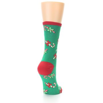 Image of Green Christmas Candy Canes Women's Dress Socks (side-1-back-20)