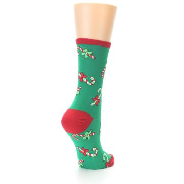 Image of Green Christmas Candy Canes Women's Dress Socks (side-1-back-21)