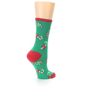 Image of Green Christmas Candy Canes Women's Dress Socks (side-1-back-22)