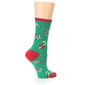 Image of Green Christmas Candy Canes Women's Dress Socks (side-1-23)