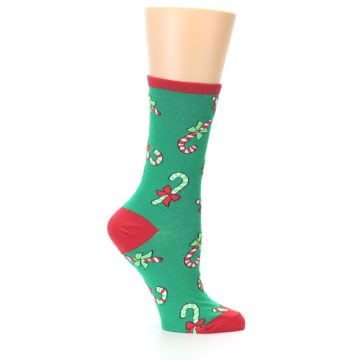 Image of Green Christmas Candy Canes Women's Dress Socks (side-1-25)