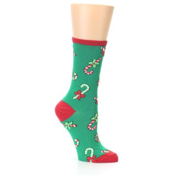 Image of Green Christmas Candy Canes Women's Dress Socks (side-1-26)