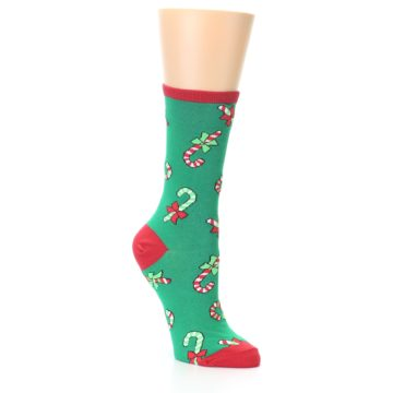 Image of Green Christmas Candy Canes Women's Dress Socks (side-1-27)