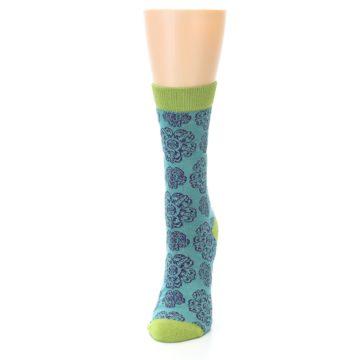 Image of Aqua Purple Chinese Pattern Women's Bamboo Dress Socks (side-2-front-06)