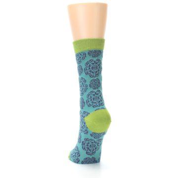 Image of Aqua Purple Chinese Pattern Women's Bamboo Dress Socks (side-2-back-16)