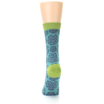Image of Aqua Purple Chinese Pattern Women's Bamboo Dress Socks (back-17)