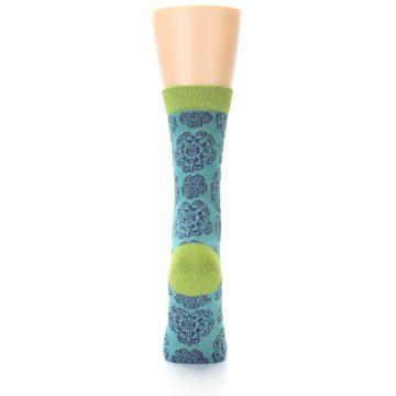 Image of Aqua Purple Chinese Pattern Women's Bamboo Dress Socks (back-18)