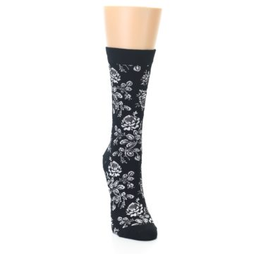 Image of Black White Bouquet Floral Women's Bamboo Dress Socks (side-1-front-03)