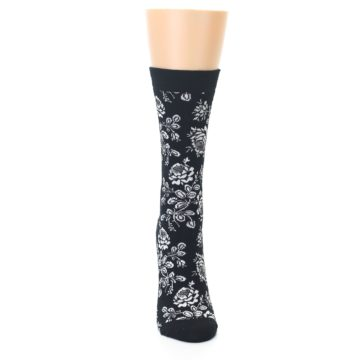 Image of Black White Bouquet Floral Women's Bamboo Dress Socks (front-04)