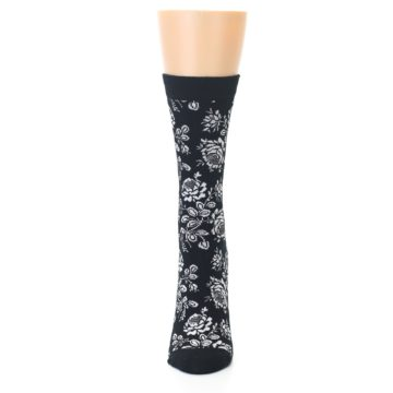 Image of Black White Bouquet Floral Women's Bamboo Dress Socks (front-05)