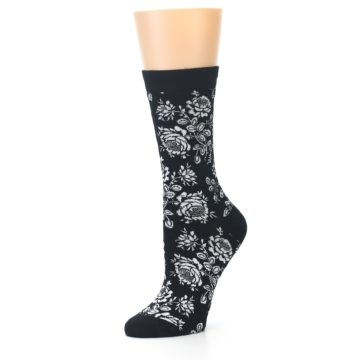 Image of Black White Bouquet Floral Women's Bamboo Dress Socks (side-2-09)