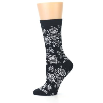 Image of Black White Bouquet Floral Women's Bamboo Dress Socks (side-2-11)