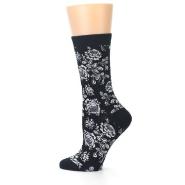 Image of Black White Bouquet Floral Women's Bamboo Dress Socks (side-2-12)