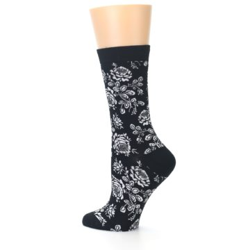 Image of Black White Bouquet Floral Women's Bamboo Dress Socks (side-2-13)