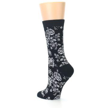 Image of Black White Bouquet Floral Women's Bamboo Dress Socks (side-2-back-14)