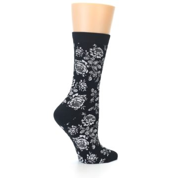 Image of Black White Bouquet Floral Women's Bamboo Dress Socks (side-1-23)