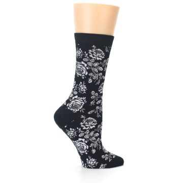 Image of Black White Bouquet Floral Women's Bamboo Dress Socks (side-1-24)