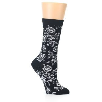 Image of Black White Bouquet Floral Women's Bamboo Dress Socks (side-1-25)