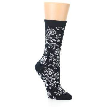 Image of Black White Bouquet Floral Women's Bamboo Dress Socks (side-1-26)
