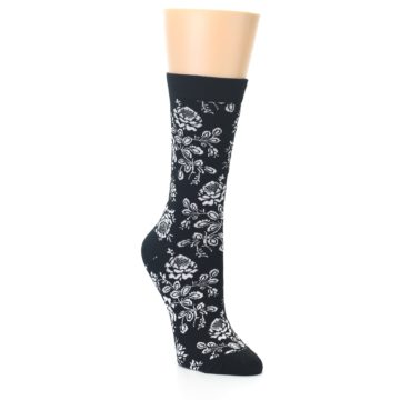 Image of Black White Bouquet Floral Women's Bamboo Dress Socks (side-1-27)
