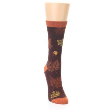Image of Brown Autumn Leaves Women's Bamboo Dress Socks (side-1-front-03)