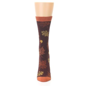 Image of Brown Autumn Leaves Women's Bamboo Dress Socks (front-05)