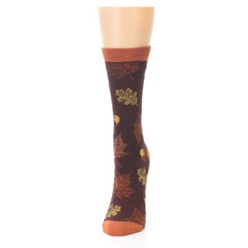 Image of Brown Autumn Leaves Women's Bamboo Dress Socks (side-2-front-06)