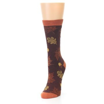 Image of Brown Autumn Leaves Women's Bamboo Dress Socks (side-2-front-07)